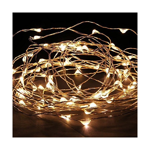 KCRIUS(TM) 33Foot Warm White Copper Wire LED Starry Lights, 6V DC, with 100 Individual Leds