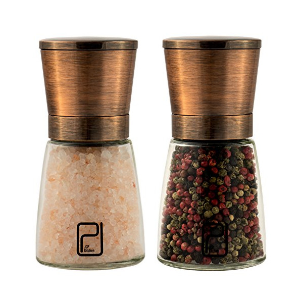 JCPKitchen Premium Copper Stainless Steel Salt and Pepper Grinder Set with Stand - FAST and EFFICIENT Magnetic lids - Ceramic Spice Grinder EASY Adjustable Coarseness - Salt and Pepper Shakers