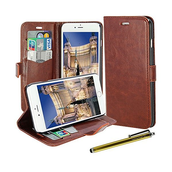 iPhone 6 Plus Case, LK [Kickstand Feature] iPhone 6 Plus 5.5inch Wallet PU Leather Case Flip Cover Case Built-in Card Slots & Stand + Free Screen Protector & Stylus Pen (Leather -Brown)