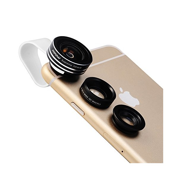 Mpow 3 in 1 Clip-On 180° Supreme Fisheye + 0.65X Wide Angle + 10X Macro Lens for For iPhone 6S, 6, 5S, Android and All Other Smartphones