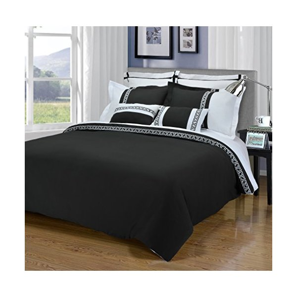 Impressions 3-Piece Emma Wrinkle Resistant Duvet Cover Set, King/California King, Black/White