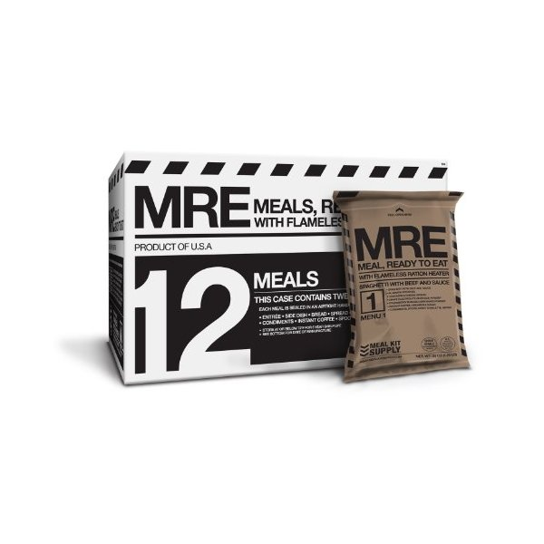 MRE (Meals, Ready to Eat) Premium case of 12 Fresh MREs with Heaters. 5 Year Shelf Life.