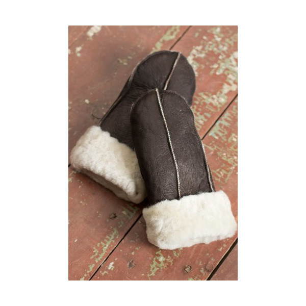B-3 Sheepskin Mittens, BROWN/CREAM, Size SMALL (7 1/2-8)