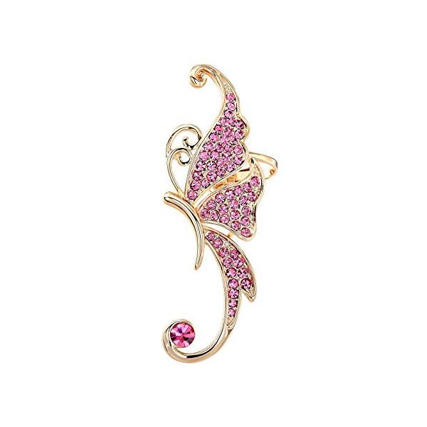 OKAJEWELRY Gold Fuchsia Crystal Butterfly Ear Cuffs Left Cartilage Ear Cuff Earring Sterling Silver Post