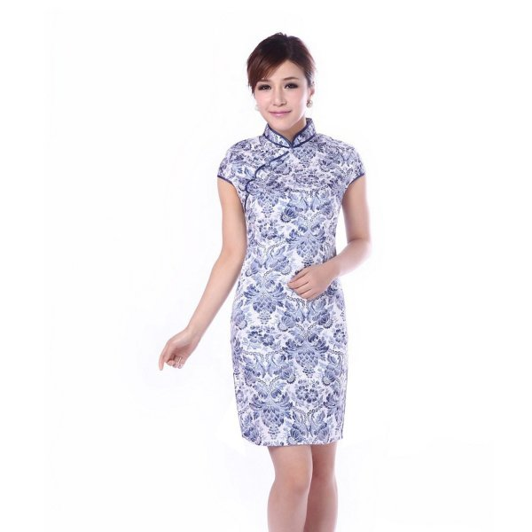 JTC Wedding Cheongsam Chinese Dress Han Costume Short Sleeve Qipao Party Skirt (12)