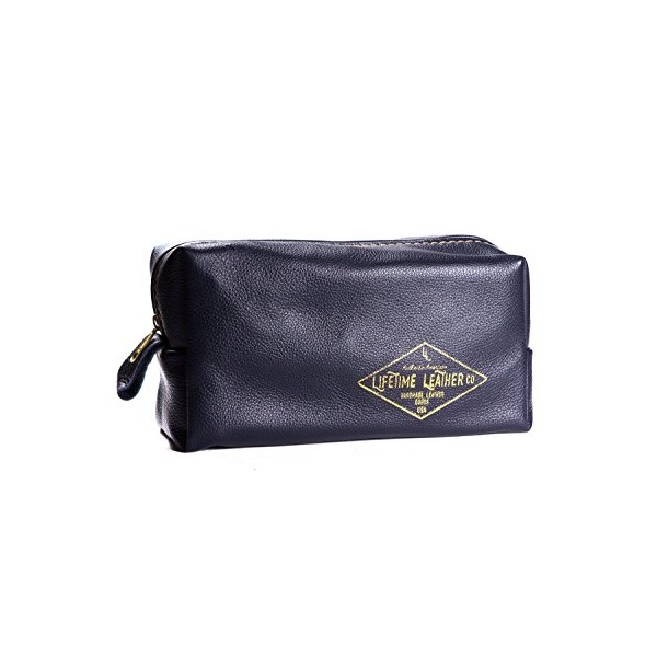 Leather Toiletry Travel Bag Dopp Kit