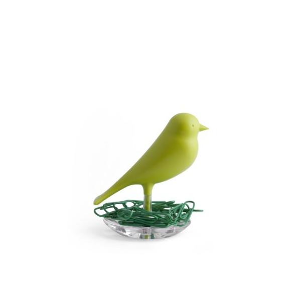 Qualy Nest Sparrow Paper Clip Holder - Green