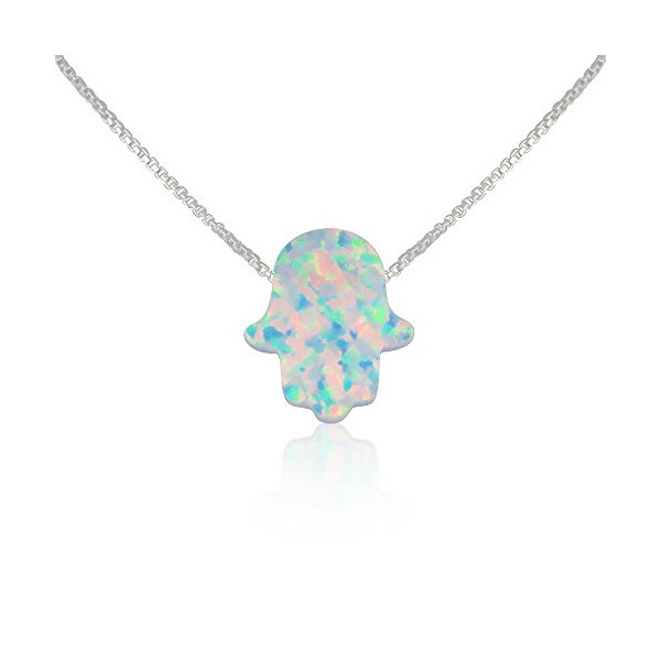 White Opal Hamsa Hand Necklace - 14 to 22 Inch