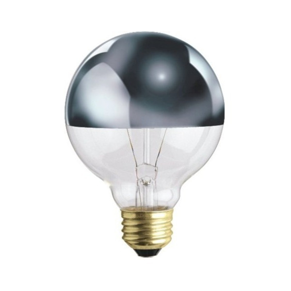 Bulbrite Half Chrome 100W Globe Shape Bulb
