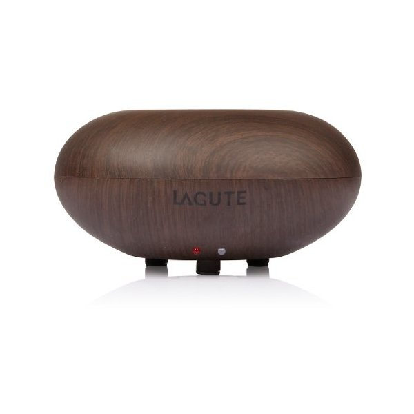 Lagute Bois Series 140ML Aromatherapy Essential Oil Diffuser Ionizer Air Humidifier, Wood Grain Style, Super Fine & Smooth Mist Version (Dark Wood Grain - Apple Shape)
