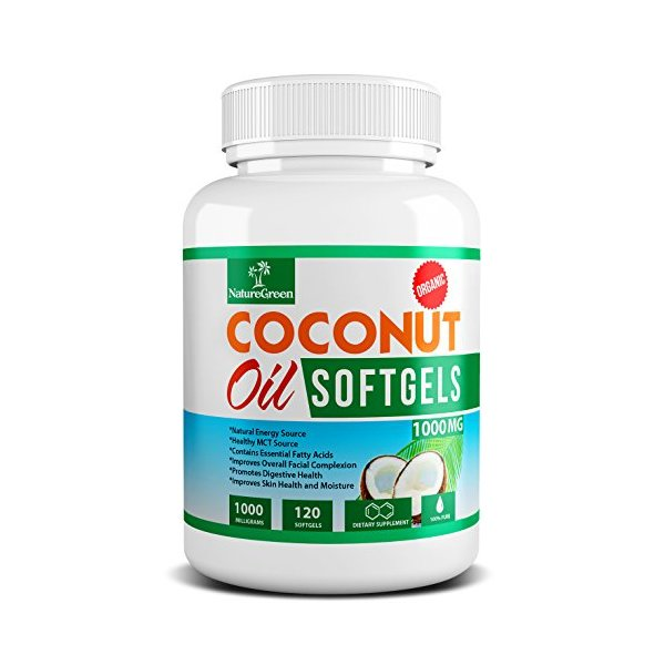 Coconut Oil Capsules Pure Extra Virgin Organic Pills FREE Coconut Recipe Book- Weight Loss Diet Pills Benefits - Best for Healthy Heart - Dry Skin - Hair Care - Detox - Natural Energy Source Product - MCT Oil Pill 1000 Mg - Made in USA(120 Softgels)