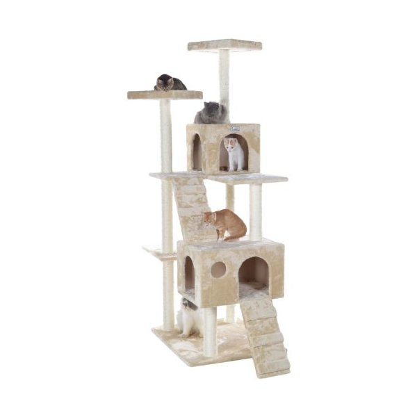 GleePet GP78700621 Cat Tree with Ramp, 70-Inch, Beige