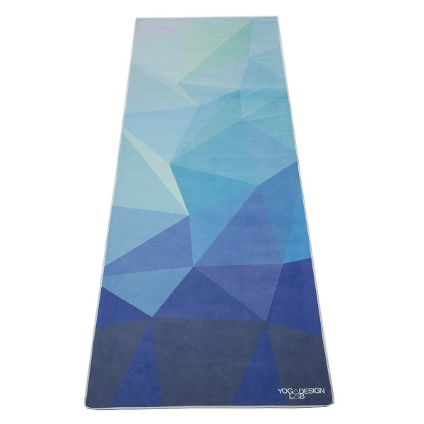 Geo Blue Hot Yoga Towel. Eco-friendly, Lightweight, Insanely Absorbent, Non-slip, Microfiber, Dries in Minutes. Ideal for Bikram, Hot Yoga/Pilates. Machine Washable. Printed w/ Water Based Inks.