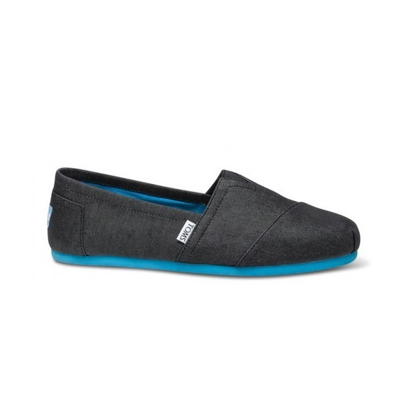 Toms Black Denim Pop Men's Classics Shoes Slip Ons - Limited Edition