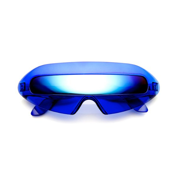 zeroUV - Futuristic Cyclops Neon Shield Color Mirror Lens Wrap Sunglasses (Clear-Blue/Ice)