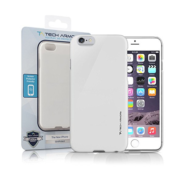 iPhone 6 Case, Tech Armor iPhone 6 Case, 4.7 inch - SlimProtect Air White/Light Grey Snap-on Hard Case Thin Fit Perfect Fit Scratch Resistant Lifetime Warranty