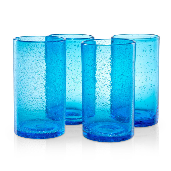 Artland Iris Highball Glasses, 17oz, Turquoise, Set of 4