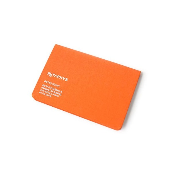 "Metaphys Blanc Fabric Cover Memo Pad - 5.1"" x 3.4"" - Orange"