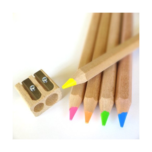 Eco Highlighter Pencils - Set of 5 Colors - Will Not Bleed or Dry Out - Includes Wooden Sharpener