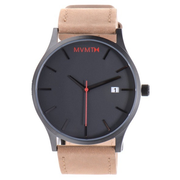 MVMT Watches Black Face with Tan Leather Strap Men's Watch