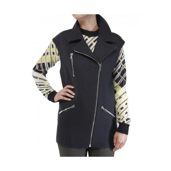 MSGM Women's Wool Lapel Waistcoat UK 12 Dark Grey