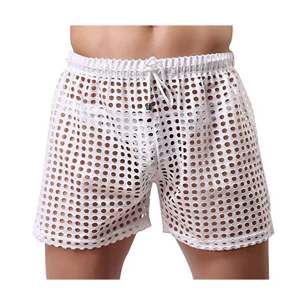 TIAOBU US Mens Hollow Openwork Drawstring Lounge Underwear Boxer Shorts White Size Large
