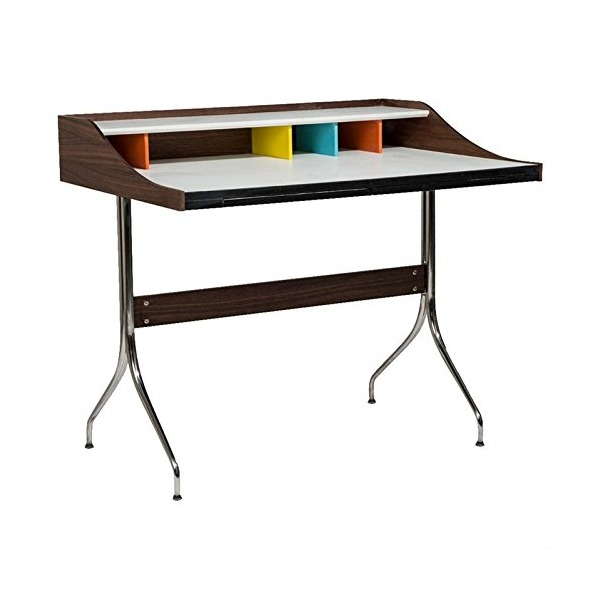 AEON Furniture Flash Desk in Walnut and White