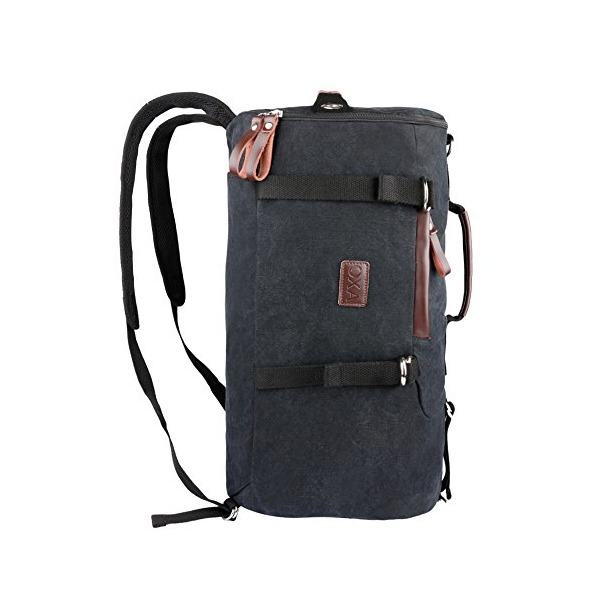 OXA Cylinder Canvas Backpack Computer Bag Laptop Bag Daypack Rucksack Sports Bag Work Bag Hiking Bag Travel Bag School Bag Satchel Bag College Bag Book Bag Gym Bag Shoulder Bag Duffel Bag Black