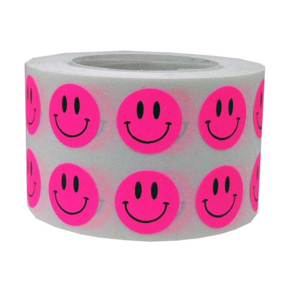 "Small 1/2"" Half Inch Round Fluorescent Pink Smiley Face Happy Stickers - 1,000 Total Color Coding Labels"