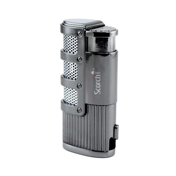 Scorch Torch Dominator Triple Jet Flame Butane Torch Cigarette Cigar Lighter w/ Punch Cutter Tool (Gunmetal)