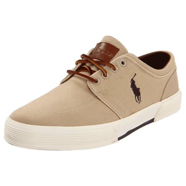 Polo Ralph Lauren Men's Faxon Low Sneaker, Khaki Canvas, 12 D US
