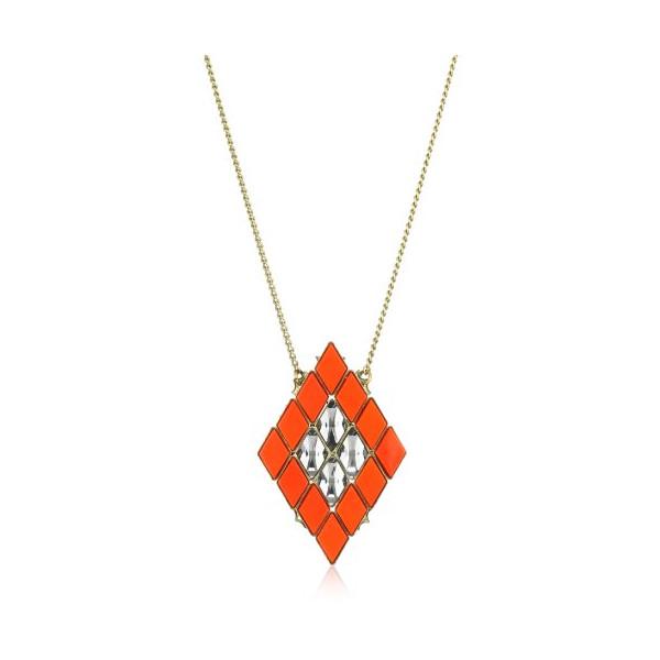 Anton Heunis Inca Goddess Tangerine Harlequin Mosaic Diamond Pendant Necklace