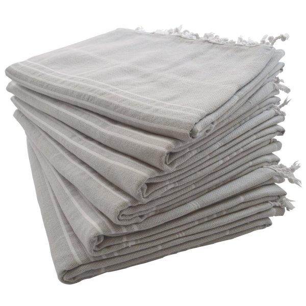 (SET of 6) 100% Turkish Cotton Bath Beach Hammam Towel Peshtemal Throw Foua Blanket Set (Silver Grey)