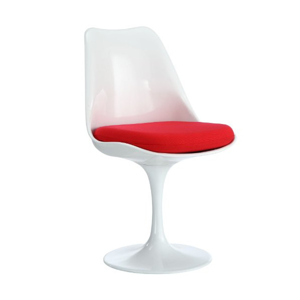 LexMod Eero Saarinen Style Tulip Side Chair and Cushion with Red slip-on cover