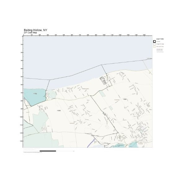 ZIP Code Wall Map of Baiting Hollow, NY ZIP Code Map Laminated