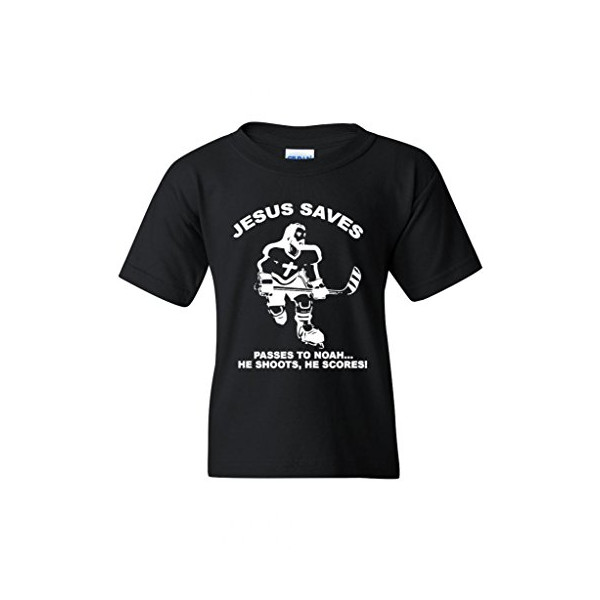 Jesus Saves Hockey Sports Novelty Youth Kids T-Shirt Tee (Small, Black)