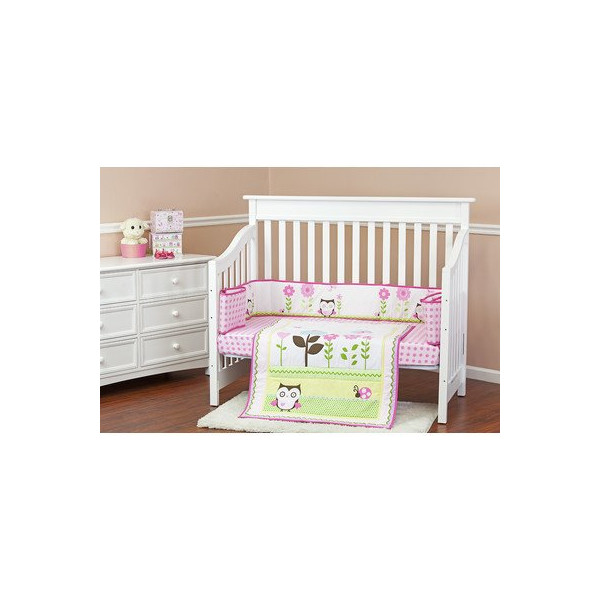 Dream On Me Baby Owl 3 Piece Reversible Full Size Crib Bedding Set