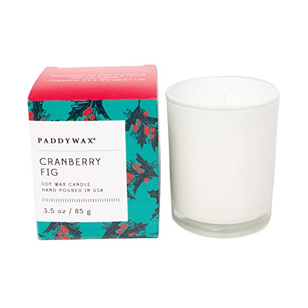 Paddywax Happy Holiday Collection Glass Candle with Inspirational Quote, Cranberry Fig