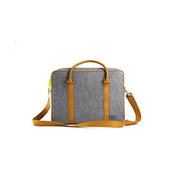 Mad Rabbit Kicking Tiger Martin Briefcase, Elephant Grey/White Oak, One Size