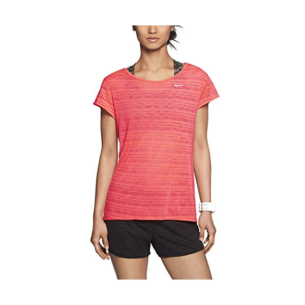Nike Women's Dri-Fit Touch Breeze Crew Running Shirt-Fluorescent Coral-XS
