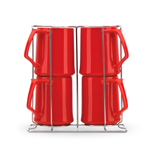 Dansk Kobenstyle Chili Red Mug, Set of 4, with Rack