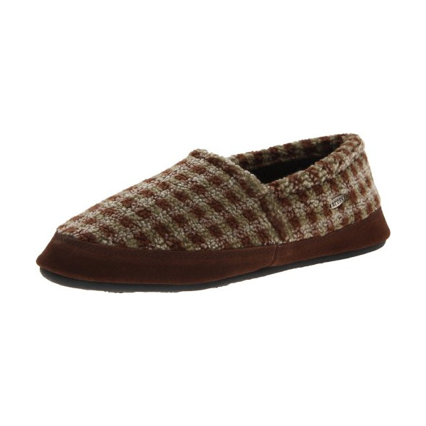 ACORN Men's Tex Moccasin,Brown Check,X-Large/12-13 M US