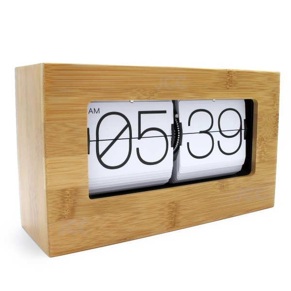 JCC Modern Stylish Bamboo Retro Auto Flip Down Desk/Wall Clock, White
