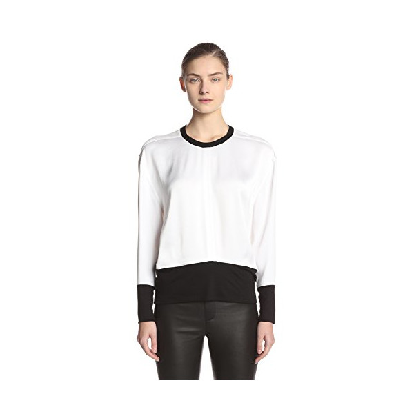 Helmut Lang Women's Colorblock Long Sleeve Blouse, Optic White/Black, Petite