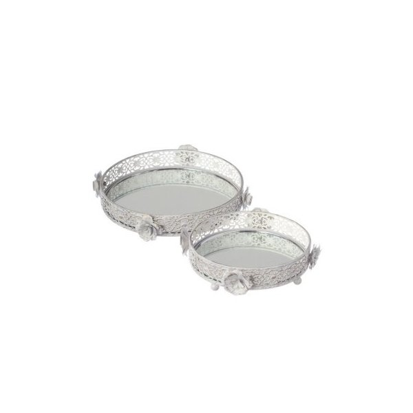 White and Gold Rose Vanity Tray set/2