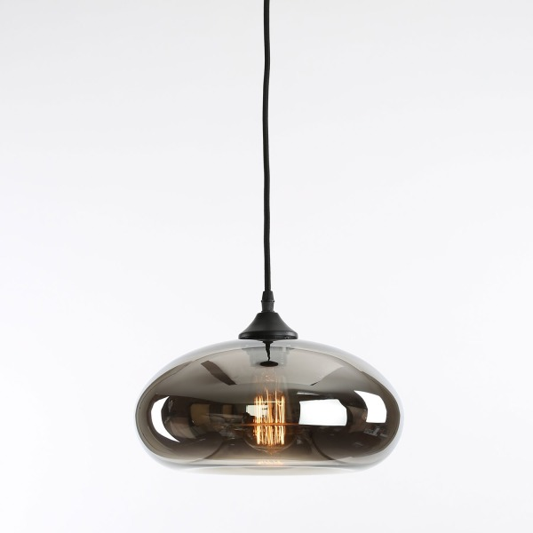 Greenwood Single Bulb Glass Pendant with Vintage Filament Bulb Included, MIrrored Glass