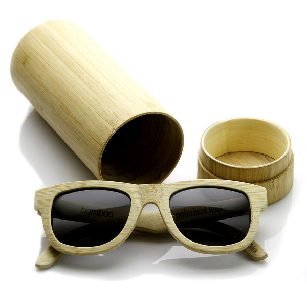 Polarized Genuine Bamboo Wood Wayfarer Sunglasses and Case (Bamboo)