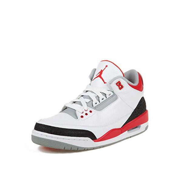 Nike Mens Air Jordan Retro 3 OG Basketball Shoes White/Black/Fire Red 136064-120 Size 11