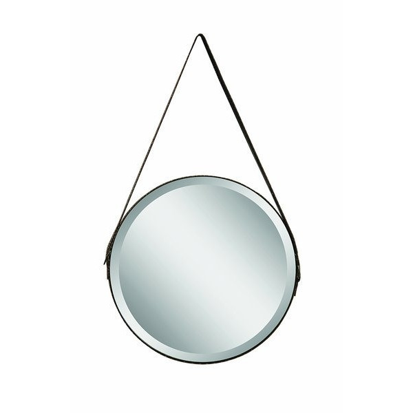 Creative Co-Op Glass Mirror with Faux Leather Strap, Large