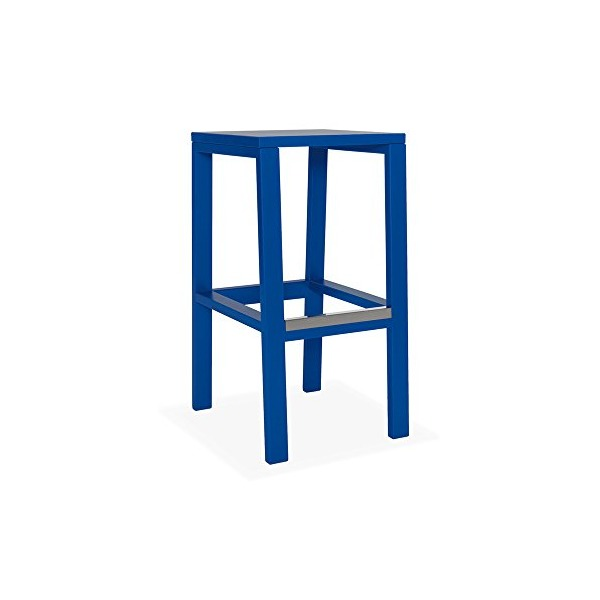 "Cain Maple 30"" Kitchen Stool - Blue - Solid Seat"